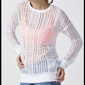 Fabletics white mesh long sleeve sophie tunic